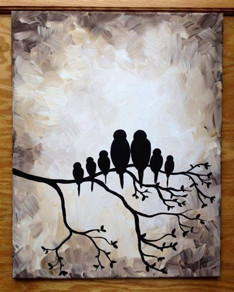 black and white painting ideas bird family silhouette black and white 16x20 quot painting