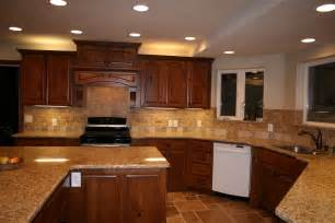 Elegant Kitchen Backsplash by Cherry Cabinets With Granite Countertops Home D