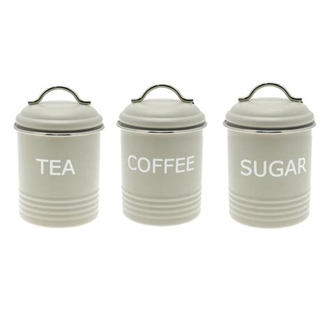 Vintage Metal Kitchen Canisters Home Sweet Home Retro Green Tea Coffee Sugar Kitchen