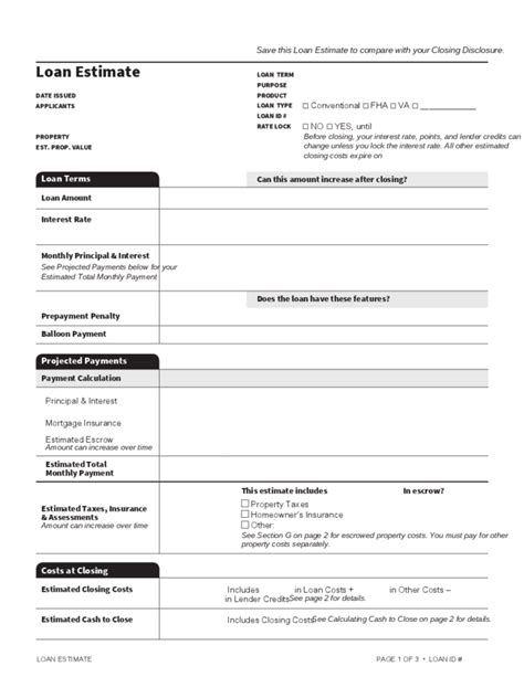 loan estimate template free