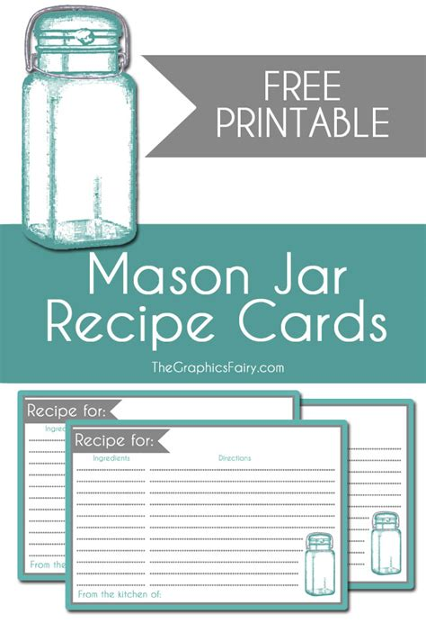 free printable recipe cards gifts jar mason jar recipe card printable the graphics fairy