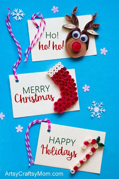diy paper quilling christmas gift tags artsycraftsymom