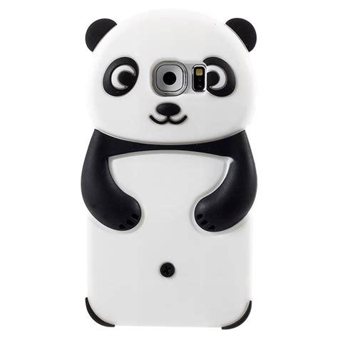 Iphone 6g Silikon 3d Cover Silikon samsung galaxy s6 3d panda silikon skal svart vit