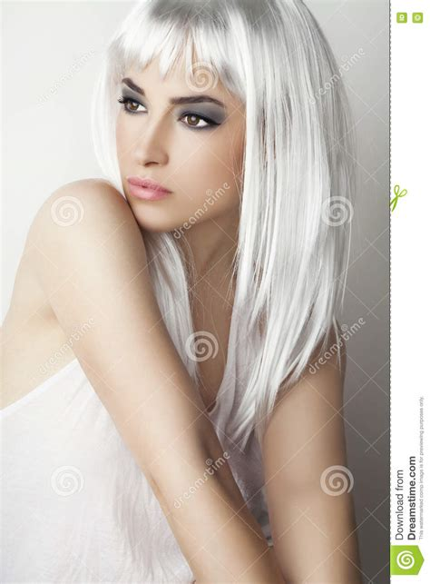 gray hairstyles in young women modern beauty with platinum gray hair stock photo image