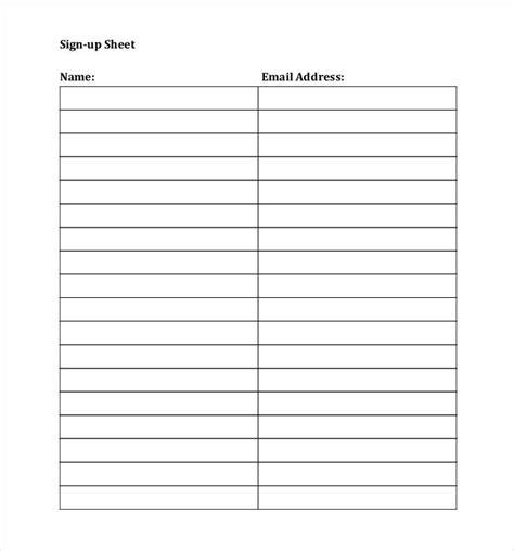 Email Sign Up Sheet Template Doyadoyasamos Com Sign Up Sheet Template Docs