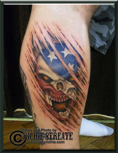 american flag ripping through skin tattoo american flag skull ripping through skin