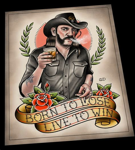 lemmy kilmister motorhead tattoo flash art print