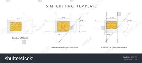micro sim card cutting template sim card cutting template standard micro stock vector