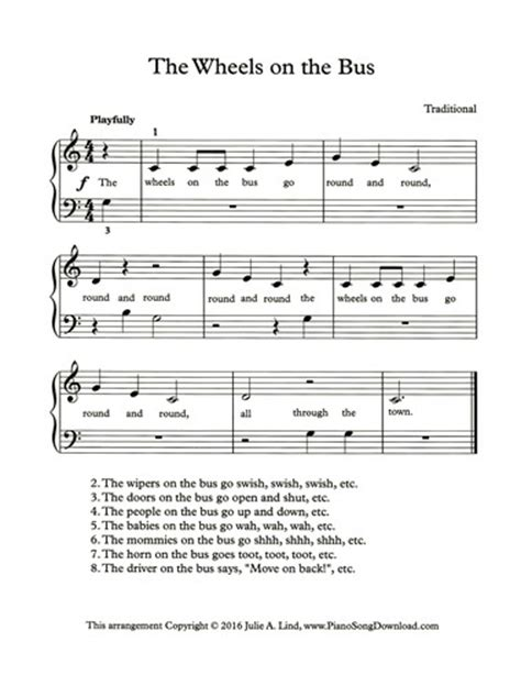 the wheels on the bus: easy piano sheet music with lyrics