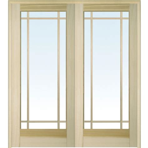 home depot double doors interior builder s choice 48 in x 80 in 10 lite clear wood pine prehung interior french door hdcp151040