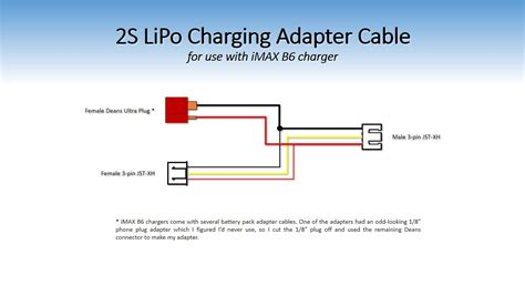 2s lipo battery and charger adapter cable for charging 1s or 2s lipo packs the on30