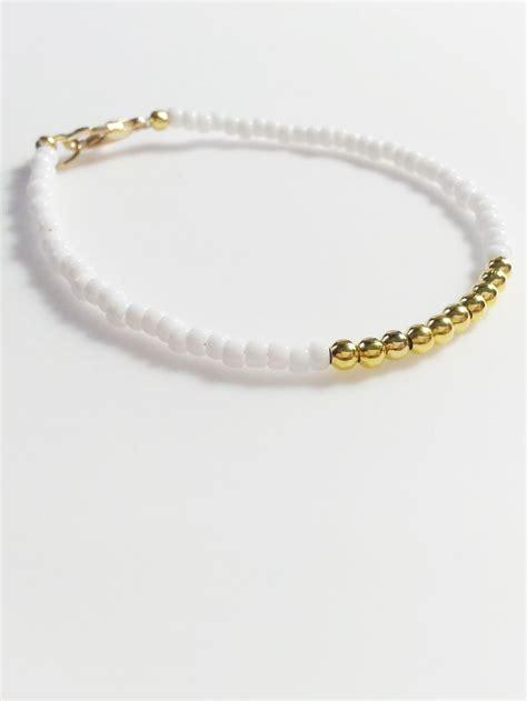 gold beaded bracelet white gold friendship bracelet beaded bracelet