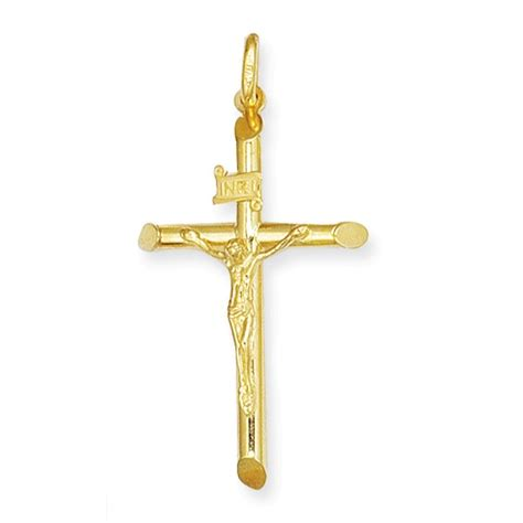 beveled crucifix cross pendant necklace in 14k yellow gold