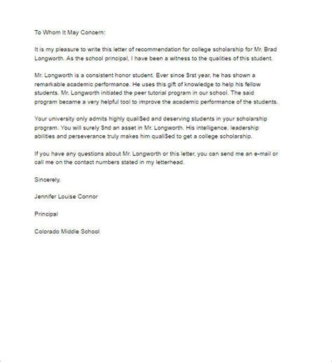 Letter Of Recommendation Template For College Scholarship 55 recommendation letter template free word pdf formats