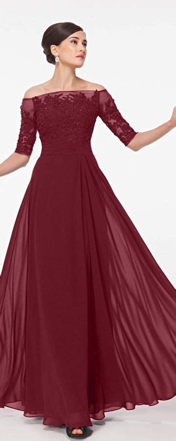 burgundy modest lace prom dresses  sleeves prom