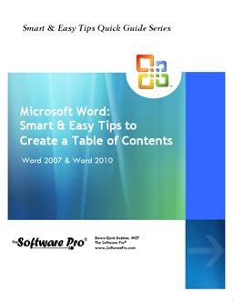 tips and tricks to create a table of contents in word 2010 tips and learning guides for microsoft office