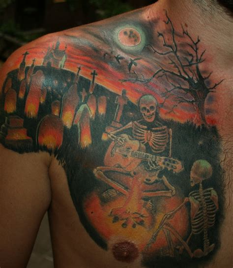 night tattoos skeletons guitar in graveyard on