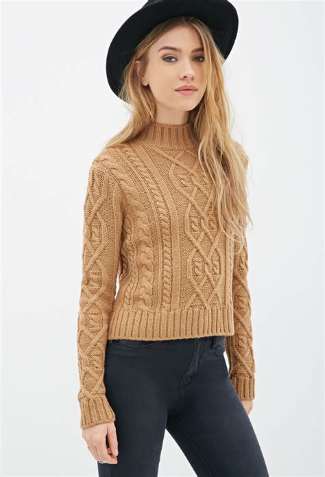brown cable knit sweater forever 21 cable knit mock neck sweater in brown lyst