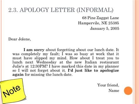 Apology Letter Informal 3 Letter Writing