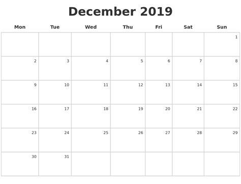 Calendar 2019 December December 2019 Make A Calendar