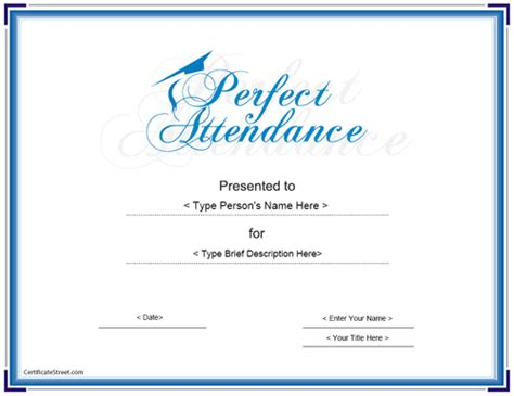 Education Certificates Perfect Attendance Award Certificate Certificatestreet Com Attendance Award Template