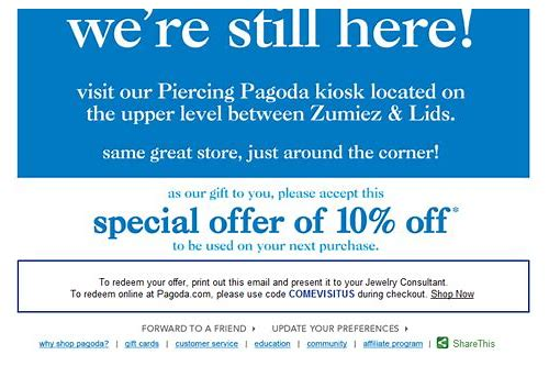 coupons for piercing pagoda in store