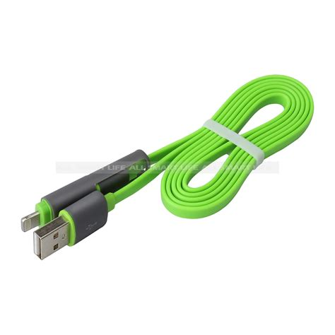 2 In 1 Flat Lightning And Micro Usb Cable For Android Ios 10 With Li 1 2 in 1 charge cable flat lightning cable with micro usb connecters for android iphone