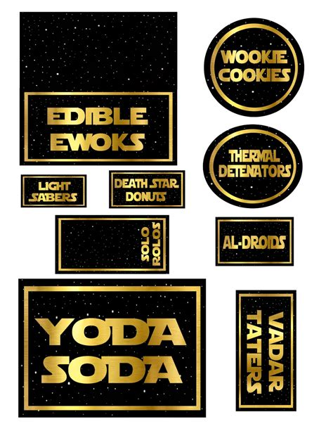 Teacher Appreciation Star Wars The Red Balloon Wars Food Labels Template Free