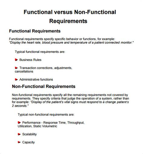Business Functional Requirements Template sle business requirements document 6 free documents