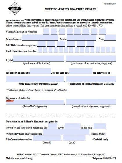 Free North Carolina Boat Bill Of Sale Form Pdf Word Doc Bill Of Sale Form Nc Template