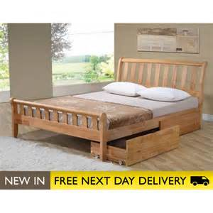 corvallis solid wood oak bed with drawers sleepy
