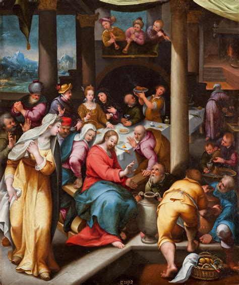 Wedding At Cana Niv by Dionisio Calvaert Anvers Ca 1540 Bologne 1619 The
