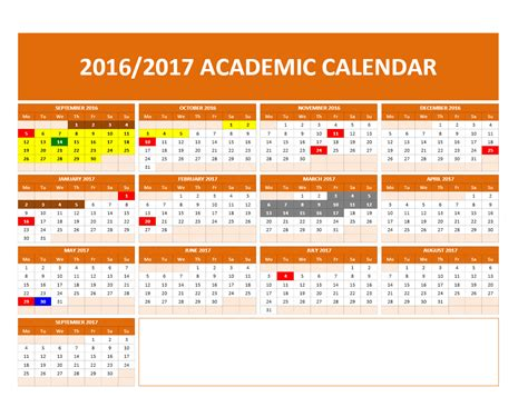 2016 And 2017 Academic Calendar 2017 2018 And 2016 2017 School Calendar Templates Excel