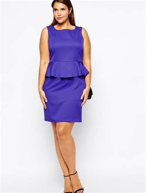 Dress Cestora Scuba peplum plus size dress chic and stylish completed with leather