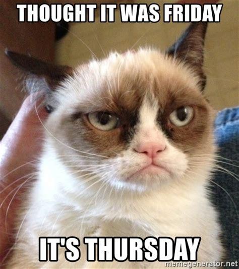 Grumpy Cat Friday Meme - thought it was friday it s thursday grumpy cat 2 meme