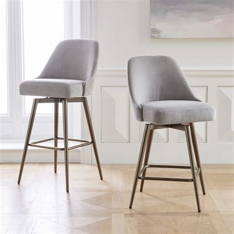 Mid Century Low Stool by Mid Century Swivel Bar Counter Stools West Elm