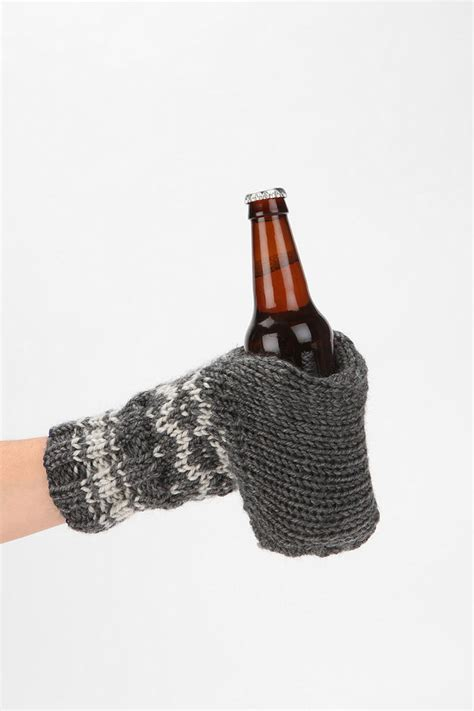 knitted cup holder knit glove drink holder from outfitters