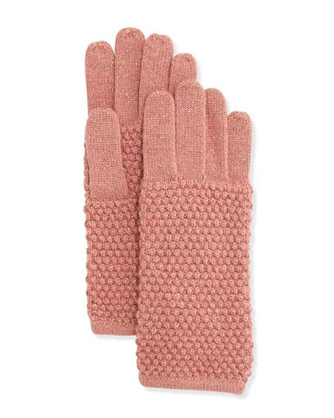 pearl knit portolano pearl stitch metallic knit gloves milagold
