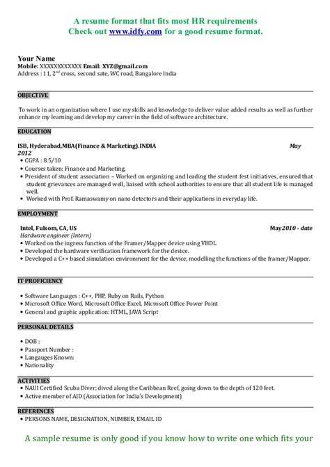Resume Format For Mba Finance And Hr Fresher by Mba Resume Sle Format