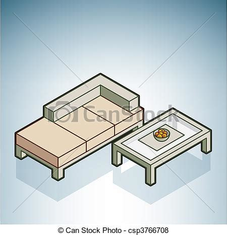 Isometric Furniture Drawing by Vector Of Sofa And Coffee Table Part Of The Modern