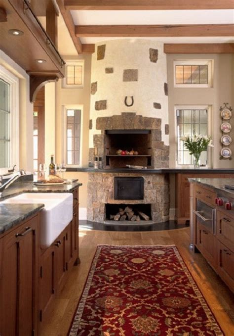 indoor fireplace with pizza oven home