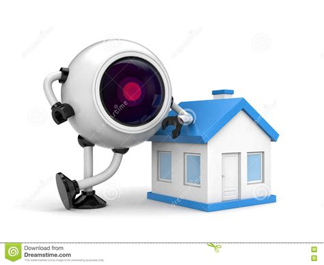 home security concept robot cctv stock