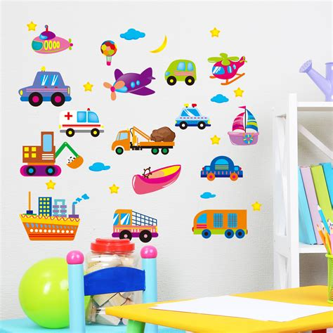 Baby Nursery Wall Stickers car for aircraft and ships wallpaper for kids rooms home