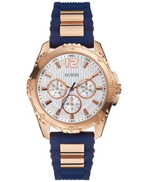 guess s navy silicone 42mm u0325l8 in
