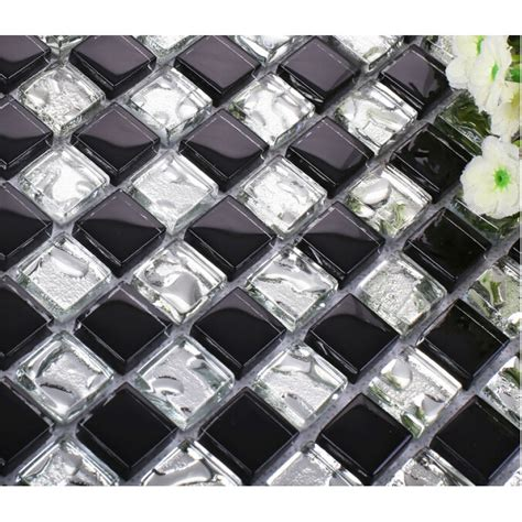 black and silver bathroom tiles black and white crystal glass tiles backsplash for kitchen