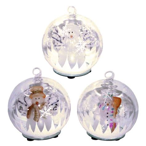 gerson 352329 color changing led glass globe snowman