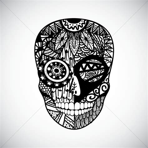 intricate skull design vector image 1555095 stockunlimited