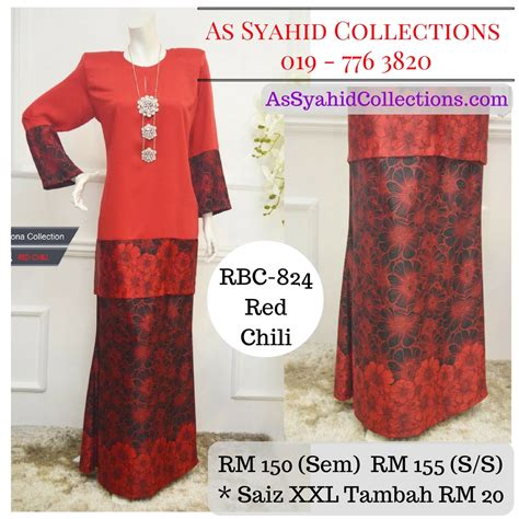 Baju Kurung Merah Cili baju kurung moden labuh malaysia terkini 2017 chili merah cili rbc 824 syaisya