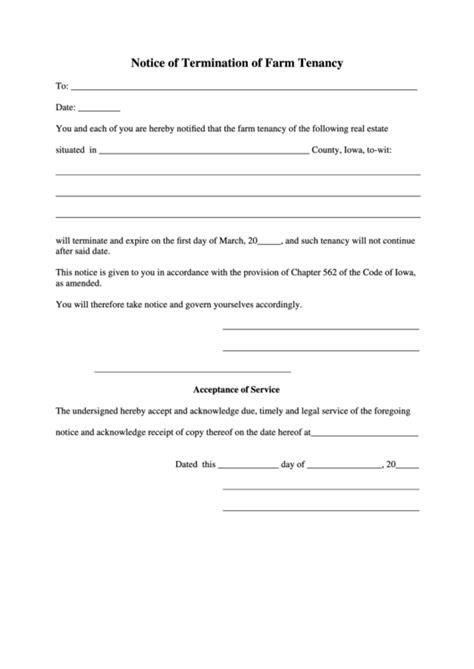 notice  termination  farm tenancy iowa printable