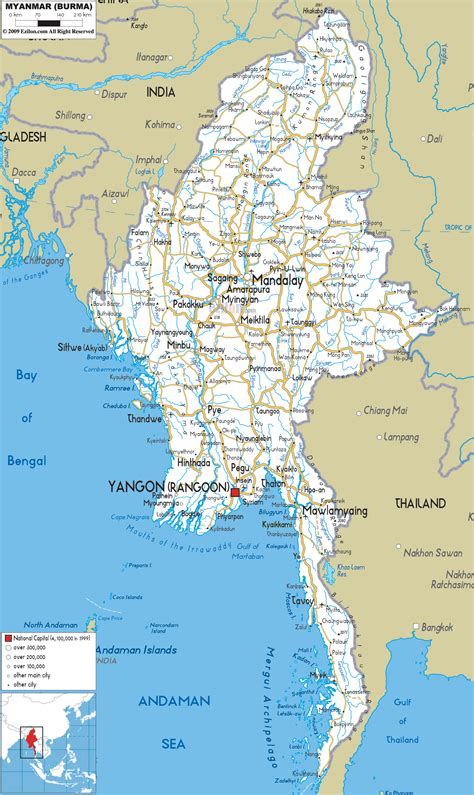myanmar physical map road map of myanmar ezilon maps